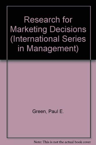 9780137741823: Research for Marketing Decisions (International Series in Management)