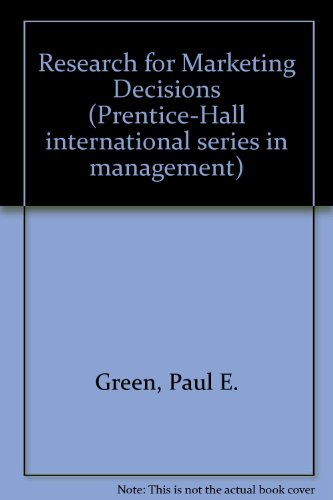 9780137742080: Research for marketing decisions (Prentice-Hall international series in management)