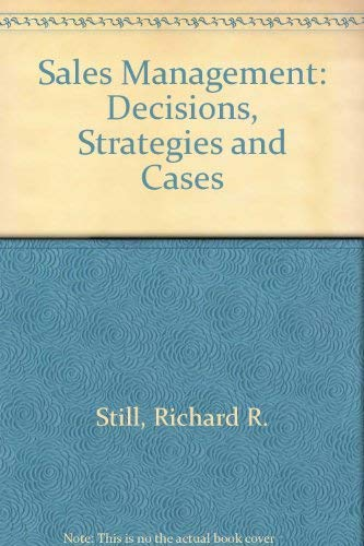 9780137880591: Sales Management: Decisions, Strategies and Cases