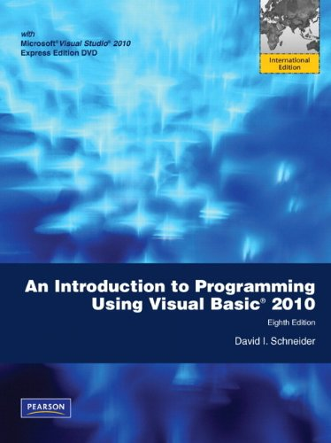 9780138003340: Introduction to Programming Using Visual Basic 2010: International Version