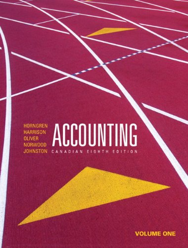 Accounting, Volume 1, Canadian Eighth Edition (8th: Horngren, Charles T.,