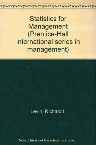 9780138453886: Statistics for Management (Prentice-Hall international series in management)