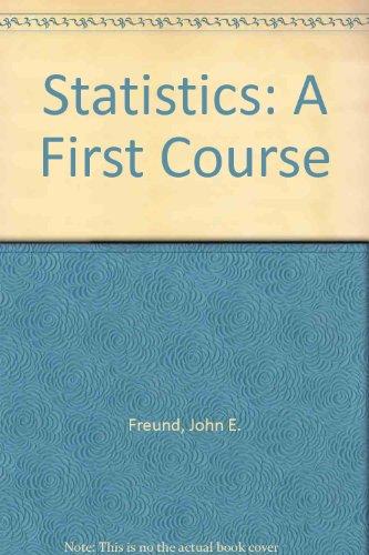 9780138473020: Statistics: A First Course
