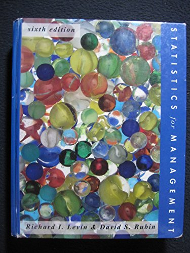 Statistics for Management/Book and Disk: Richard I. Levin,