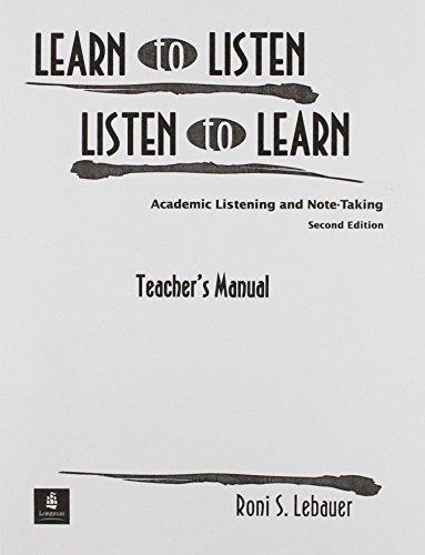 9780139194405: Learn to Listen T Manual: Teachers Manual