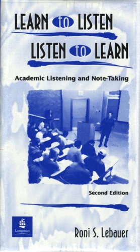 9780139194573: Learn to Listen, Listen to Learn: Academic Listening and Note-taking
