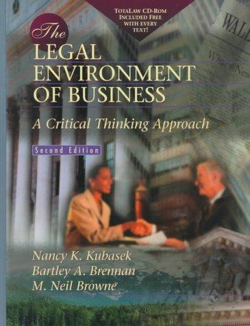9780139222535: The Legal Environment of Business: A Critical Thinking Approach with Total Law CD-ROM (2nd Edition)