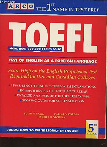 9780139231292: Toefl: Test of English as a Foreign Language