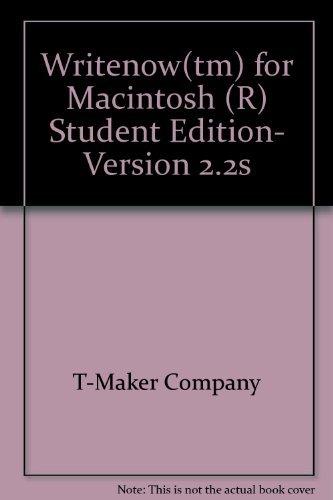 9780139710940: Writenow(tm) for Macintosh (R) Student Edition, Version 2.2s