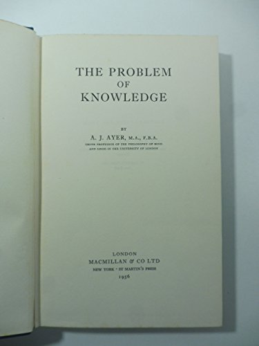 9780140203776: The Problem of Knowledge (Pelican)