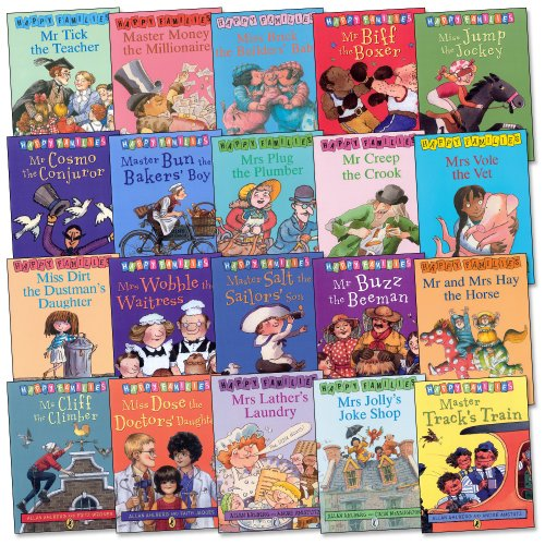 9780140926019: Happy Families - Complete Set of 20 Books RRP £79.80 - Incl.: Master Bun, Miss Dose, Mrs Jolly, Mr and Mrs Hay, Mrs Plug, Mrs Lather's Laundry, Mrs Vole, Mr Tick, Miss Brick, Miss Jump, Mrs Wobble, Mr Cosmo, Mr Biff, Miss Dirt, Ms Cliff, etc.... (Happy Families)