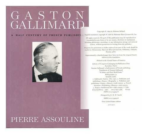 9780151342938: Gaston Gallimard: A Half-Century of French Publishing (English and French Edition)