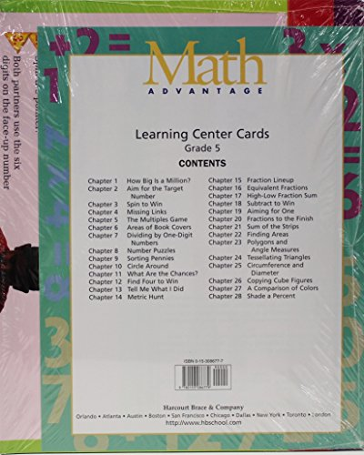 9780153086779: Learning Center Cards Gr5 Math Adv98
