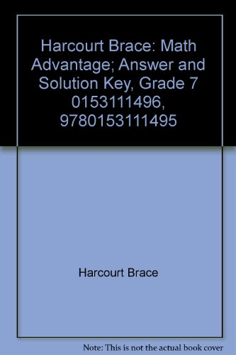 Harcourt Brace: Math Advantage; Answer and Solution