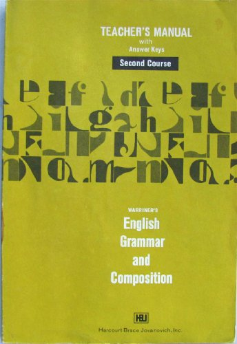 9780153119279: Warriner's English Grammar and Composition : Second Course; Teacher's Manual with Answer Keys