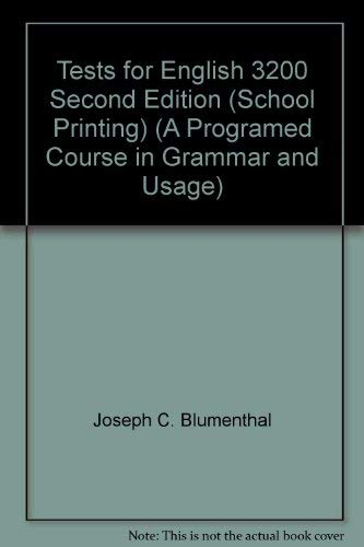 9780153148293: Tests for English 3200 Second Edition (School Printing) (A Programed Course in Grammar and Usage)