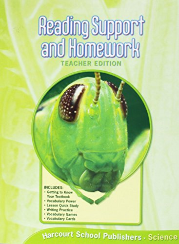 9780153436147: Reading Support and Homework, Teacher's Edition (Harcourt Science, Grade 6)