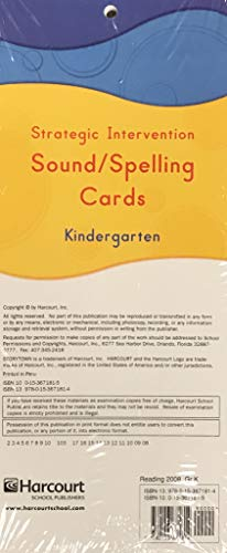 Storytown Stratgc Intervention Sound and Spelling Cards Grade K (9780153671814) by HARCOURT SCHOOL PUBLISHERS