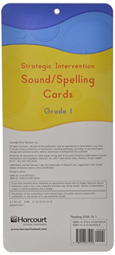 Storytown: Strategic Intervention Sound and Spelling Cards Grade 1