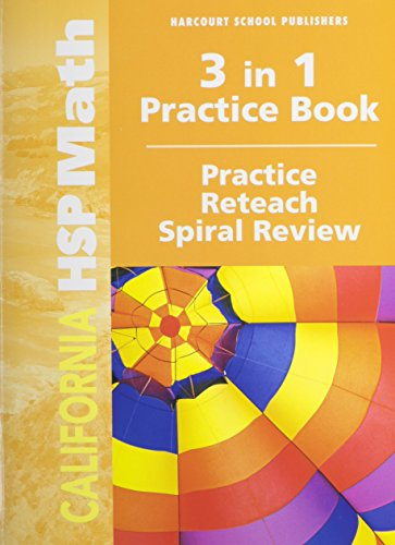 9780153833861: Harcourt School Publishers Math California: Practice/Reteach Workbook Student Edition Grade 5