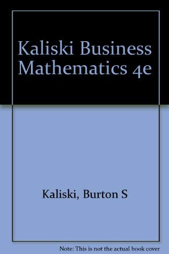 9780155056442: Kaliski Business Mathematics 4e