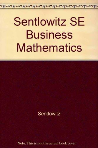 9780155056572: Sentlowitz SE Business Mathematics