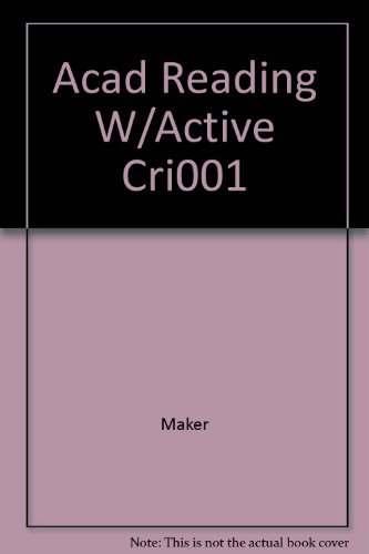 9780155067059: Academic Reading With Active Critical Thinking