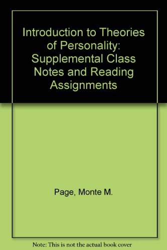 9780155674721: Introduction to Theories of Personality: Supplemental Class Notes and Reading Assignments