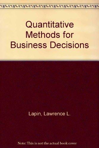 9780155743267: Quantitative Methods for Business Decisions