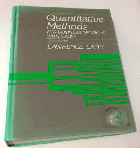 9780155743274: Quantitative Methods for Business Decisions: With Cases
