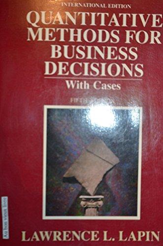 9780155743311: Quantitative Methods for Business Decisions Fifth Edition
