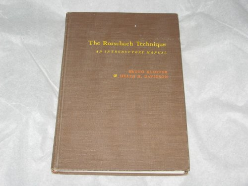 Rorschach Technique: An Introductory Manual: Bruno Klopfer