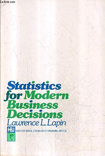 9780155837645: Statistics for Modern Business Decisions (The Harbrace series in business and economics)