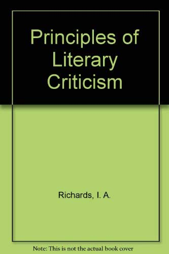 9780156745925: Principles of Literary Criticism