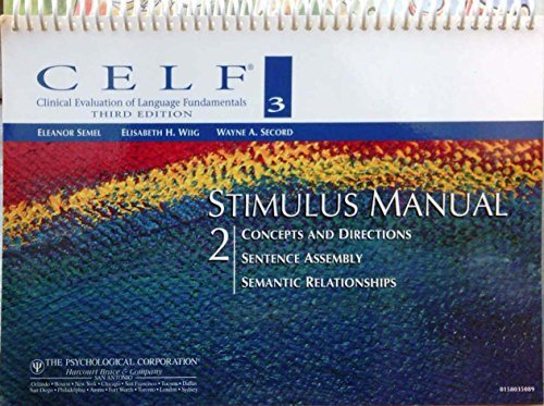 CELF 3 Stimulus Manual 2: Semel, Wiig, Secord
