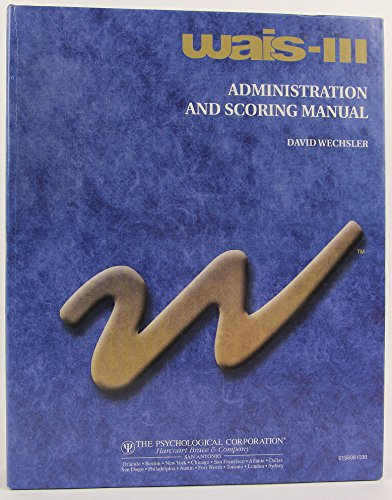 9780158981031: Wais-3 Administration and Scoring Manual
