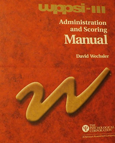 9780158989334: Wppsi-III Administration and Scoring Manual