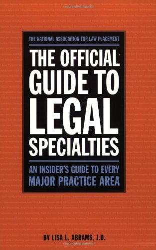 9780159003916: Official Guide to Legal Specialties (Career Guides)