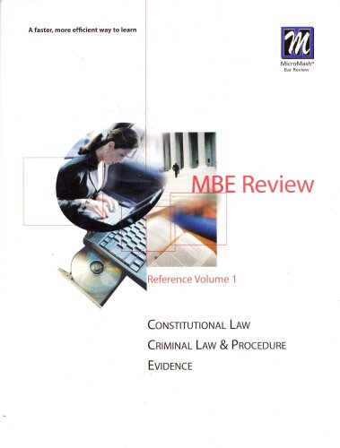 9780159004449: MBE Review Reference Volume 1 ~ Constitutional Law, Criminal Law & Procedure, Evidence