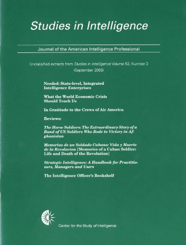9780160845734: Studies in Intelligence, Journal of the American Intelligence Professional, Unclassified Extracts From Studies in Intelligence, V. 53, No. 3 ... (Center for the Study of Intelligence))