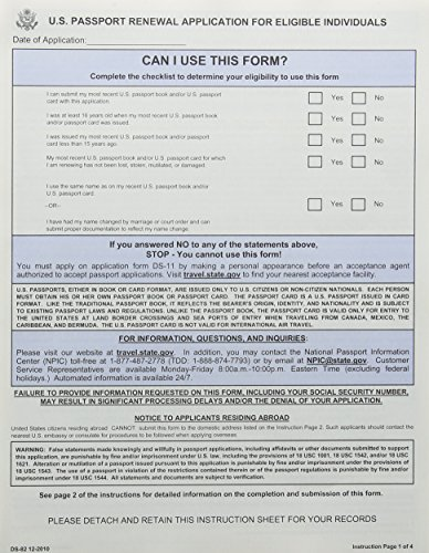 U.S. Passport Renewal Application For Eligible Individuals, Form