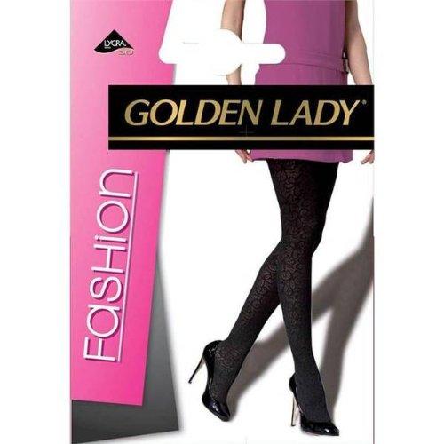 9780169708955: Golden lady - collant velvet flowers DENIM S/M