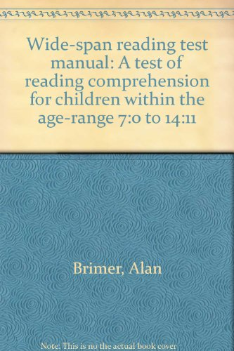 9780174200505: Wide-span reading test manual: A test of reading comprehension for children within the age-range 7:0 to 14:11