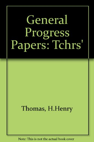 9780174244820: General Progress Papers: Tchrs'