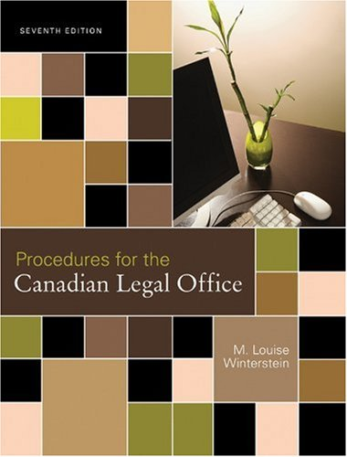 Procedures for the Canadian Legal Office: Winterstein, M. Louise
