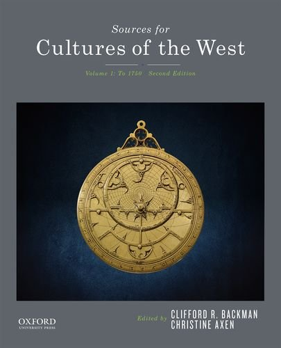 9780190240493: Sources for Cultures of the West: Volume 1: To 1750