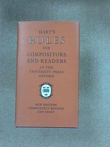 Hart's Rules for Compositors and Readers at the University Press Oxford