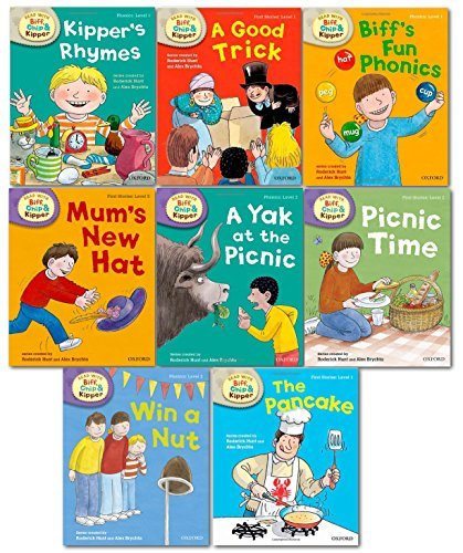 9780192739902: Oxford Reading Tree Read With Biff Chip Kipper Phonics & First Stories Collection 8 Books Set Level 1 & 2 Kipper's Rhymes, Biff's Fun Phonics, A Good Trick, The Pancake, Win a Nut, A Yak at the Picnic, Mum's New Hat and Picnic Time...