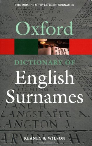 9780192806635: A Dictionary of English Surnames. by P.H. Reaney (Oxford Paperback Reference S)
