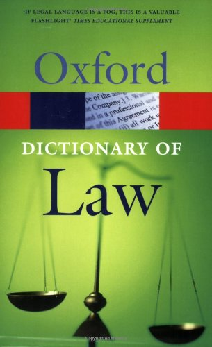 9780192806987: A Dictionary of Law (Oxford Paperback Reference)